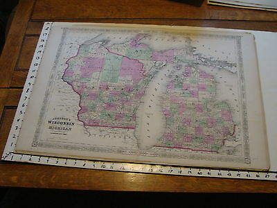vintage map: 1864 Johnson's Atlas Large Map of WISCONSIN & MICHIGAN