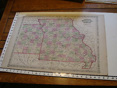 vintage map: 1865 Johnson's Atlas Large Map of MISSOURI & KANSAS