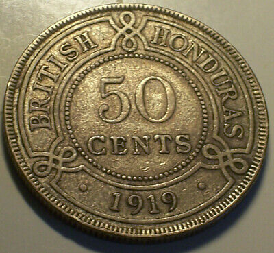British Honduras, 1919 George V Fifty Cents, 50 Cents. 40,000 Mintage.
