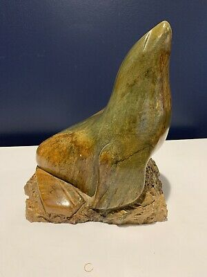 Vintage Eskimo Inuit Art Carved Soapstone Seal Sculpture Estate Find Signed 1986