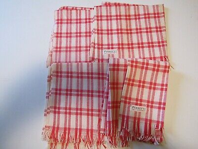 4 Vintage Cotton Dish Towels..red Plaid..penneys