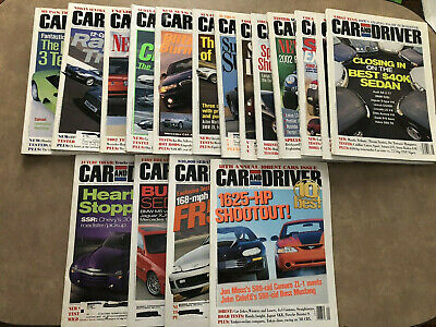 Car And Driver Magazine Lot of 17 Various Magazines January 2000-December 2001