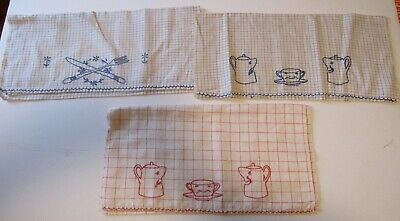 3 Vintage Cotton Dish Towels...embroidered