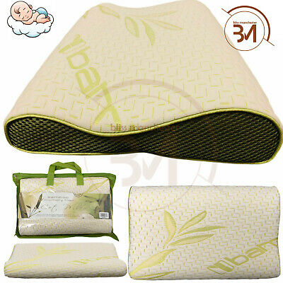 Cot Pillow Kids Bamboo Contour Memory Foam Soft Comfy Baby Toddler 40cm X 25cm