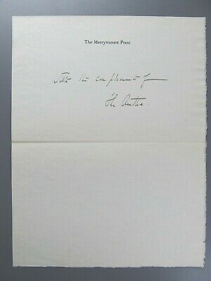 Daniel Berkeley Updike Note on Merrymount Press Letterhead