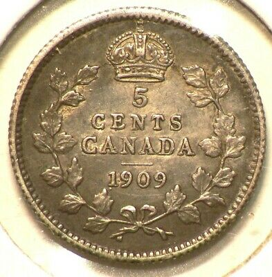 1909 Canada 5 Cents  Round Leaves Silver #10032