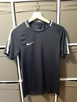 Nike navy blue workout tshirt top dri-fit womens clothing size Small gym sports