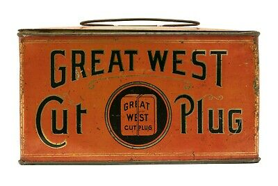 "Rare 1910s Canadian ""Great West litho lunch pail tobacco tin in fair condition"