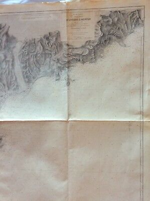 Vintage Nautical Chart D'Antibes A Menton Oct 1898