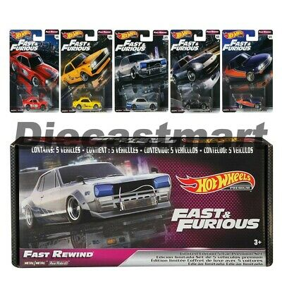 Hot Wheels 1:64 Fast & Furious Rewind Premium Bundle Set of 5 GRB02 Diecast Car