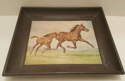Vintage Horse Picture in Frame Running Mare Foal Thoroughbred?