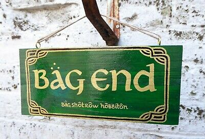 The Lord of the Rings/The Hobbit 'Bag End' hand painted wooden garden sign