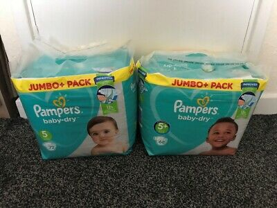 🌟 Pampers Baby Dry Size 5 (72 Nappies) And 5+ (68 Nappies) Jumbo Packs - New 🌟