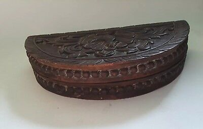 Opium Scale Antique Indonesian Carved Wooden 3 Original Weights Box Container