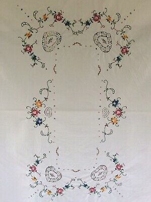 Hand Embroidered Vintage White Cotton Tablecloth 126cm x 174cm Rectangular