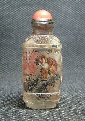 Chinese Glass Delicate Inside-drawing Monkeys Snuff Bottle////*****