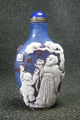 Chinese Glass Seiko Carve Old People Drink Snuff Bottle/////****