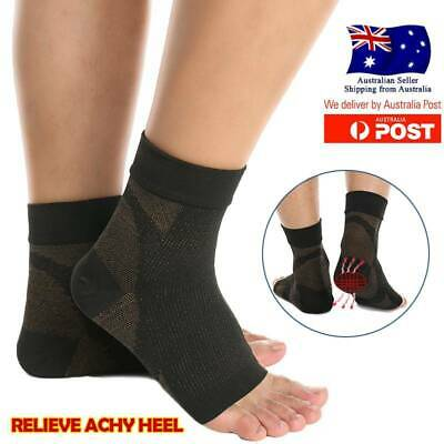 AU Copper Infused Compression Socks Planter Fasciitis Ankle Support Pain Relief