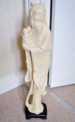 Chinese hand carved resin big happy man with kid figure-ornament,signed
