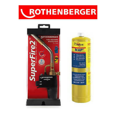 Rothenberger Super Fire 2 Blow Torch Brazing Soldering + Mapp Gas