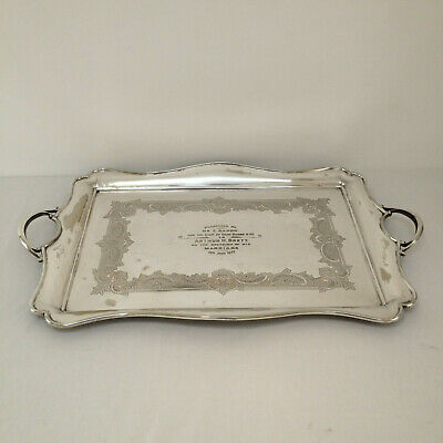 Large 64cm Antique Roberts & Belk Silver Plated Serving Tray