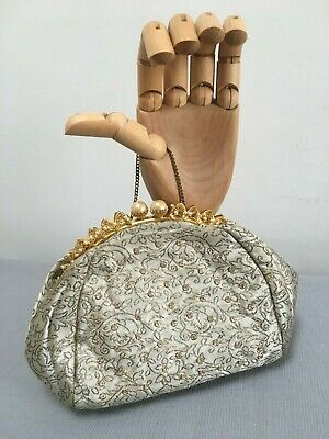 Vintage 1940s 1950s rhinestone studded fabric evening bag pearl details