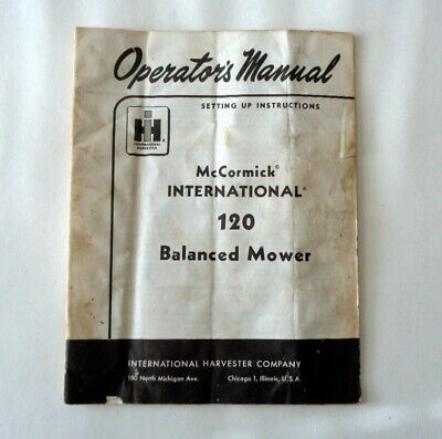 INTERNATIONAL HARVESTER 105 BALANCED MOWER OPERATORS OWNERS MANUAL