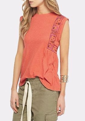NEW Free People Anthropologie Marcy Tank Orange Rust M Tee embroidered