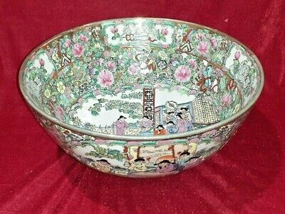 Very Large Vintage Chinese Porcelain Bowl Famille Rose Table Centre Oriental
