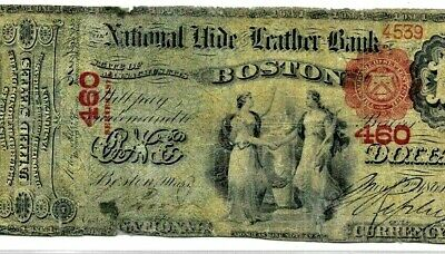 """$1 """"1875"""" (National Hide & Leather) 1875  $1 (Boston) """"Rare""""!!! (National Hide)!"""