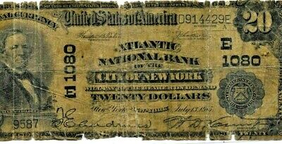 """$20 """"National Currency"""" 1902 (City Of New York) 1902 """"Horseblanket"""" $20 Rough!!!"""