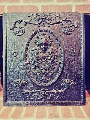 Victorian Cast Iron Fireplace Summer Cover Insert Bas Relief