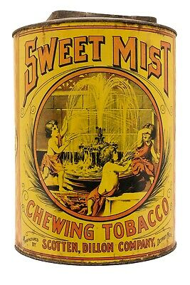 "Scarce 1910s ""Sweet Mist"" litho store display humidor tobacco tin in good cond"