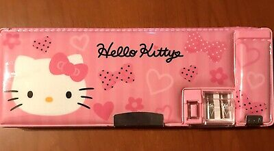Hello Kitty Sanrio School Pencil Case w/ Sharpener. Magnetic Closure. Never Used