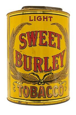 "Rare 1920s ""Sweet Burley litho store display humidor tobacco tin in good cond"