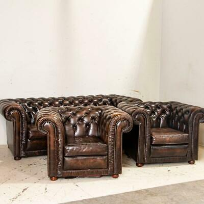 Antique Dark Brown Leather Chesterfield Sofa and Pair of Chesterfield Club Chair