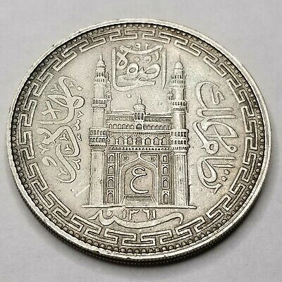 1942 AH1361//32 Indian Princely Sts Hyderabad 1 Rupee World Silver Coin - India