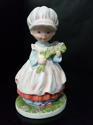 MEGAN AND FRIENDS by HEARTLINE Porcelain Figurine Girl With Bouquet of Flowers