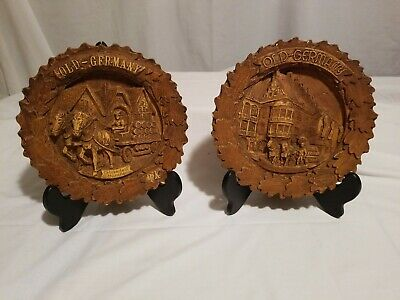 Old Germany carved Resin 3D Wall Plate Vintage Hand Painted