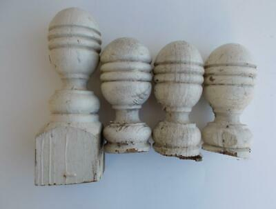 4 Antique Turned White Oval Wooden Porch Railing Post Finials Cottage