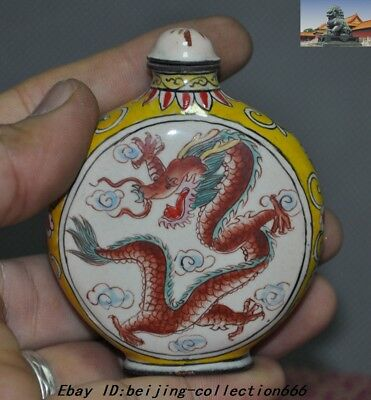 """3"""" Marked China Dynasty bronze Cloisonne animal Dragon Loong snuff bottle statue"""