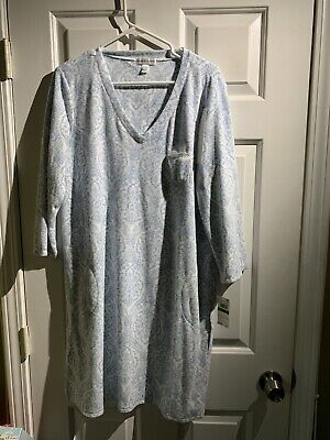 Miss Elaine Large Fleece Nightgown Soft Gray V-Neck Pockets  NEW $62