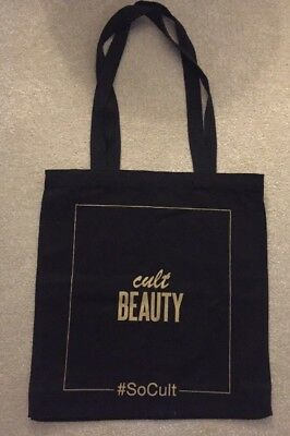 CULT BEAUTY Black & Gold Holiday Beach Shopping Tote Bag