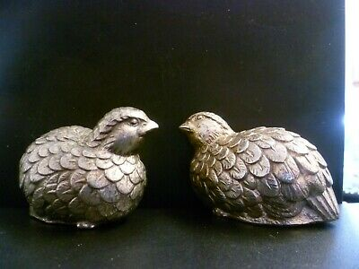 A Grouse Shaped White Metal Condiment Set. Grouse Shaped Salt & Pepper Pots