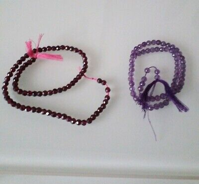 Faceted Precious Amethyst and Garnet beads strands