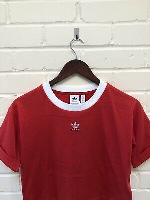 Adidas Originals Trefoil Logo Crop Top Tshirt Tee UK 10 BNWT Red