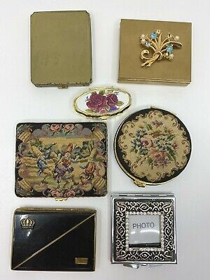 Vintage Compact Lot with Petit-Point Needlepoint Brass 6 Compacts Pill Box