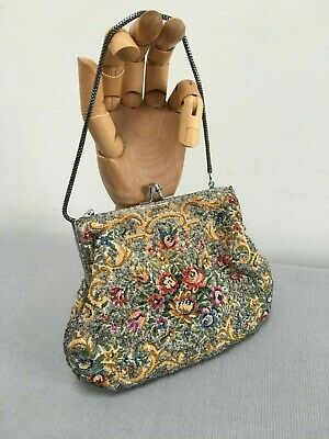 Vintage 1930s 1940s  Embroidered Beaded Tapestry Evening Bag Sparkly Wedding