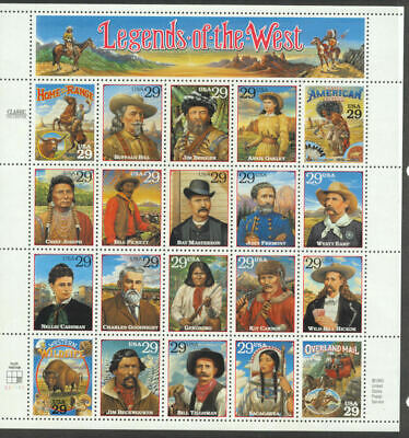 SCOTT 2869 LEGENDS OF THE WEST 29ct 20 STAMP SHEET
