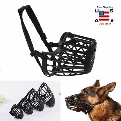 Strong Pet Dog Muzzle Adjustable Basket Anti Bite Mouth Bark Cage Flexible Strap